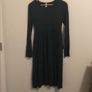 Empire waist long sleeved dress with pockets